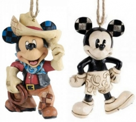 "MICKEY ""Cowboy & Plane Crazy"" Set van 2  ornamenten JIM SHORE A25905 A25901."