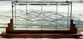 5498 Voorzetraam Tiffany op voet H50cm B109cm Geslepen glas