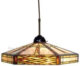 5731 345 Hanglamp Textielsnoer met Tiffany Ø40cm Art Deco motief