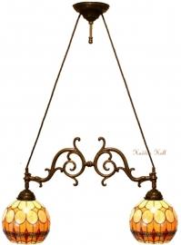5316 Hanglamp met 2 Tiffany kappen Ø27cm
