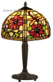 9932 Tafellamp Zwart H46cm met Tiffany kap Ø30cm Garden Dragonfly