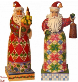 Set van 2 Kerstmannen H20cm Holiday Traditions - Holiday Bright Jim Shore