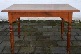 Originele oude tafel 125x93 cm Massief teakhout Circa 1900