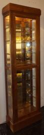 Vitrinekast H205cm B61cm D28cm met verlichting Massief Teakhout