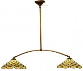 T06M Hanglamp B100cm met 2 Tiffany kappen Ø37cm Creme Pearl