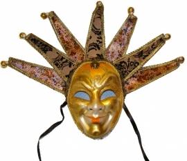 """546 Venetiaanse Masker """"Clown"""" Geel-Goud"""