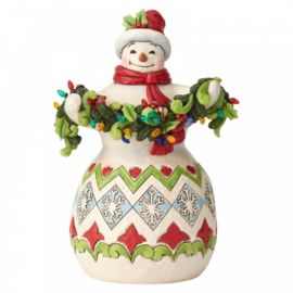 Make The Season Bright Snowman with String of Lights H22cm Jim Shore 6002642