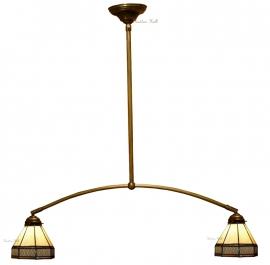 5819  Hanglamp met 2 Tiffany kappen Ø18cm  Wall Deco