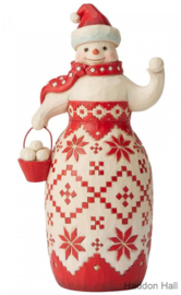 "Nordic Noel Snowman ""Ready, Set, Snowball Fight!"" H22,5cm Jim Shore 6004228"