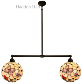 1169 Hanglamp met 2 Tiffany kappen Ø35cm Pink Butterfly