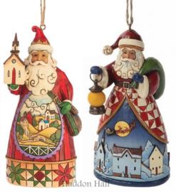 "Set van 2 Hanging Ornament H12cm ""Santa Church""& Santa Night""Jim Shore"