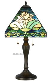6155 Tafellamp H62cm met Tiffany kap 43x43cm White Lelie