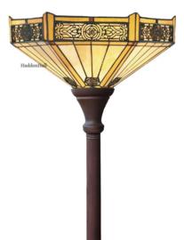 YT29D Vloerlamp Uplight Bruin H184cm met Tiffany kap Ø40cm Portum