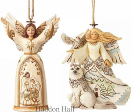 "Set van 2 Hanging Ornament ""Ivory Gold""& ""White Woodland Angel"" Jim Shore"
