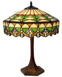 6086 Tafellamp H57cm met Tiffany kap Ø41cm Golden Curtain