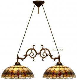 5416 Hanglamp met 2 Tiffany kappen Ø40cm Victoria