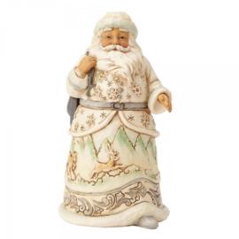 Set van 2 Jim Shore White Woodland Figurines H14cm Santa & Snowman