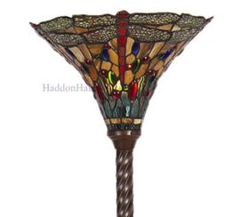 6081 Vloerlamp Uplight Bruin H186cm met Tiffanyn kap Ø38cm Dragonfly