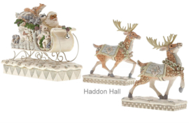 """Woodland Santa en 2 Reindeer"" Set van 3 Jim Shore beelden"