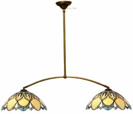 Hanglamp met 2 Tiffany kappen Ø40cm T5320 Alphonse