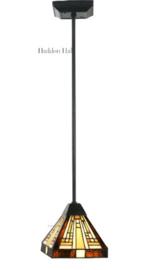 7904 Hanglamp Zwart H75 - 48cm met Tiffany kap 18x18cm Rising Sun