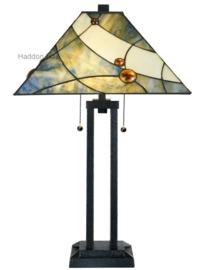 7989 Tafellamp Architect H73cm met Tiffany kap 44x44cm Sky Blue