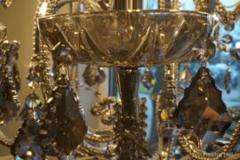 Kroonluchter H80cm Ø75cm Grijs Smokey Crystal 18xE14