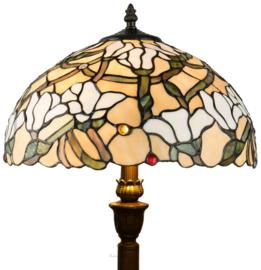 5923 Vloerlamp H156cm met Tiffany kap Ø40cm Magnolia
