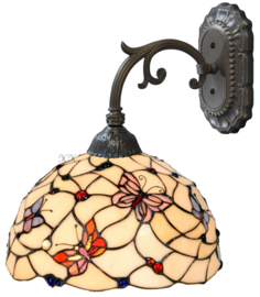770 Wandlamp Grijs met Tiffany kap Ø30cm Pink Butterfly