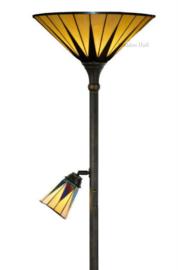 TG08 Vloerlamp H178cm met 2 Tiffany kappen Ø42cm en Ø13cm Dark Star