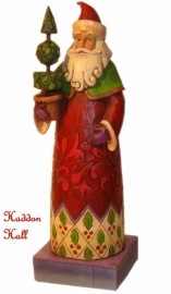 Holiday Trim Santa with topiary H 20cm Jim Shore Kerstman uit 2008