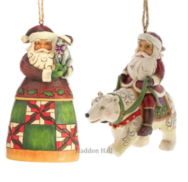 Set van 2 Jim Shore Hanging ornament Santa with Cat - Santa in Polar Bear