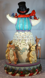 Kindness Warms the Winter H26cm Snowman with rotating Animals 4056591