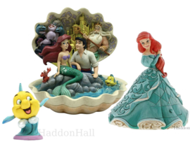Ariel - Set van 3 beelden - Ariel Shell , ArielTreasure Keeper & Flounder- Jim Shore