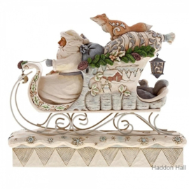 """Woodland Santa in Sleigh"" H23cm B26cm Jim Shore 6001410"