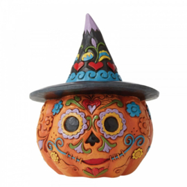Day of the Dead Jack-o-Lantern with Witch Hat - H9,5cm Jim Shore 6006703