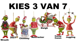 Set van 3 - Kies 3 van 7 Grinch Hanging Ornament - Jim Shore