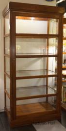 Vitrinekast Rondom glas H188cm B90cm Diep60cm Massief Teakhout