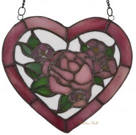 5684 Voorzetraam Tiffany H20cm Hart met rozen