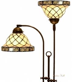 1136 Vloerlamp met 2 Tiffany kappen Ø26cm Filigrees