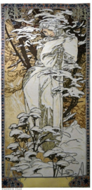 "Alphonse Mucha ""Winter"" Wandkleed 150x68cm Gobelin Geweven"