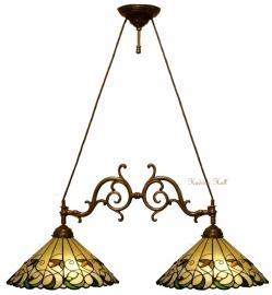 """T095M Hanglamp met 2 Tiffany kappen Ø41cm """"Jamelia"""""""