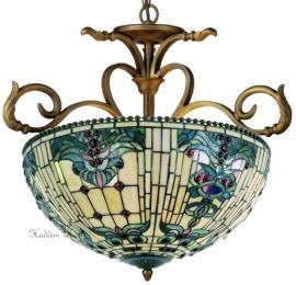 5424 H55 Hanglamp Tiffany Ø56cm Blue-Oyster