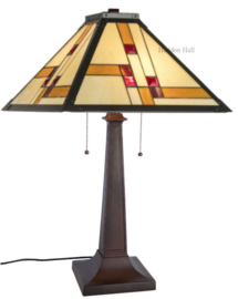 KT50 Tafellamp H67cm met Tiffany kap 46x46cm Quadratum