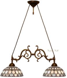 69361 Hanglamp B55cm met 2 Tiffany kappen Missori