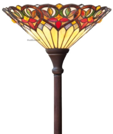 COT07 Vloerlamp Uplight Bruin H184cm met Tifany kap Ø42cm Sydan