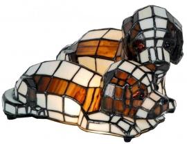 9207 Tiffany lamp Hondjes L25cm 2 puppy's