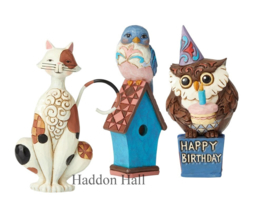 Mini Figurines Set van 3 - Cat , Blue Bird & Owl H9,5cm Jim Shore