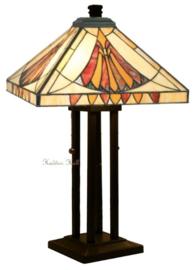 CT10273 Tafellamp H62cm met Tiffany kap 36x36cm Art Deco Sun