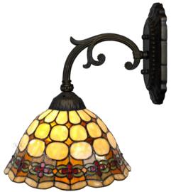 8828  Wandlamp Grijs met Tiffany kap Ø26cm Victoria